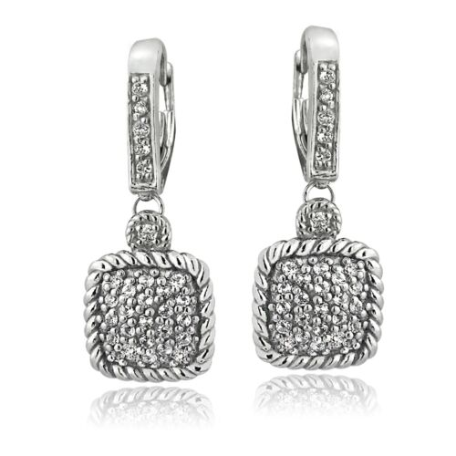 925 Silver 1.7ct White Topaz Square Rope Leverback Earrings`