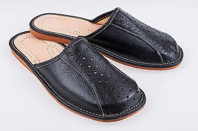 Para Hombres Cuero Zapatillas Mulas Negro Talla 6 7 8 9 10 11 12 Flip Flop Sandalias UK