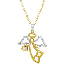 14K Gold Plated Sterling Silver Diamond Angel with Heart Pendant Necklace