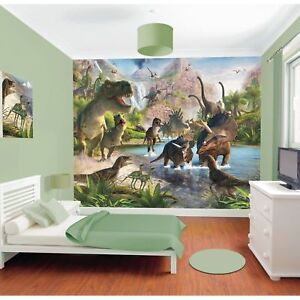 WALLTASTIC DINOSAUR LAND WALL MURAL 2.44m x 3.05m NEW