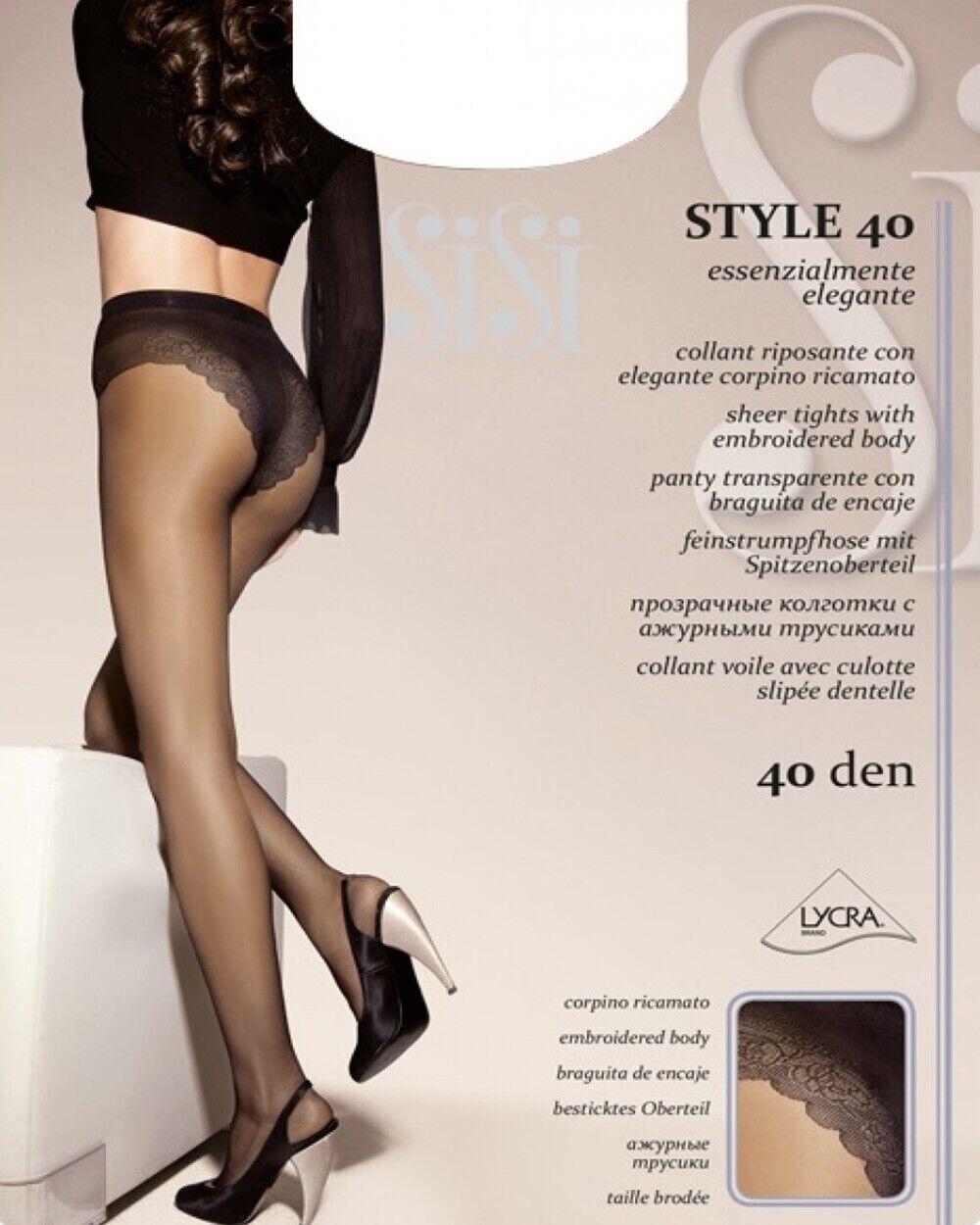 Sisi Stil 40 Strumpfhose Schleier Mit Unterhose Slipée Spitze - Größe 2/3/4/5