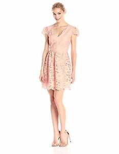 dress size 0 x small $255 ERIN FETHERSTON peach bouquet lace lined zip up back