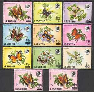 Lesotho-1986-Surcharges-Butterflies-Insects-11v-n21915
