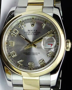 ROLEX-18kt-GOLD-SS-36mm-Mens-DateJust-Silver-Concentric-Arabic-116203-SANT-BLANC