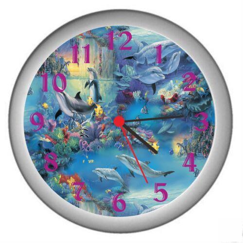 Dolphins At Play Room Decor Wall Clock