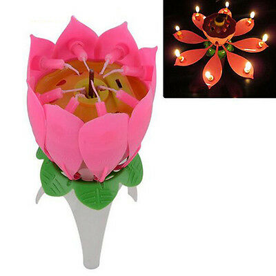 Musical Single Layer Lotus Flower Birthday Charming Cake Topper Candle Lights