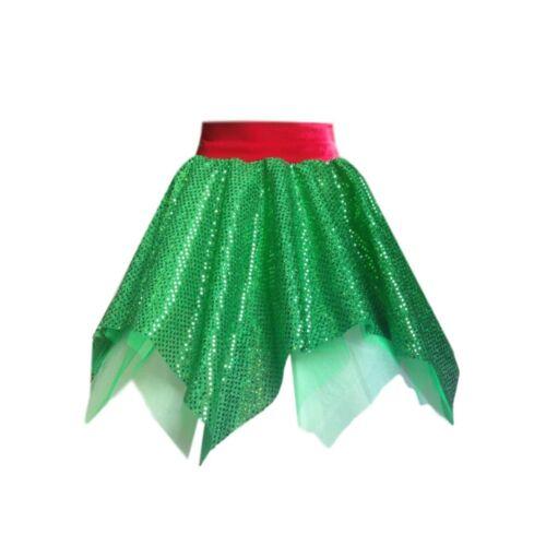 Ladies Elf Christmas Costume CHRISTMAS JUMPER DAY SKIRT Fancy Dress