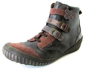 BOTTINES-34-talon-compense-cuir-noir-marron-a-scratchs-LE-LOUP-BLANC-fille-NEUF