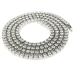 0f4782b8ff709 Details about One-Row Necklace 1 One Row Pharaoh CZ Mens Silver Tone 30