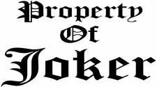 Vinyl Decal Property Of Joker Quinn Pick Size Amp Color Car Truck Fits Sticker