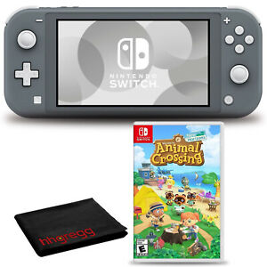 Nintendo Switch Lite (Gray) Console Bundle with Animal Crossing Game and