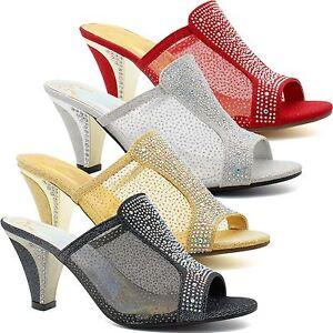 Le Meilleur Femme Bas Mi Chaton Talons Strass Sandales Femmes Mariage Bal Shoes Uk-afficher Le Titre D'origine Saveur Aromatique