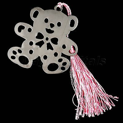 Creative Pink Tassels Alloy Bear Bookmarks Birthday Wedding Party Favor Gifts
