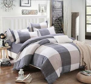 Plaid-Bedding-Set-Cotton-Quilt-Cover-Pillowcase-Twin-Queen-King-Duvet-Cover-Set