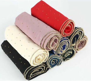 Scarves-Wrap-Long-Scarf-Muslim-Shawl-Head-Rhinestones-Women-Pearl-Chiffon-Hijab