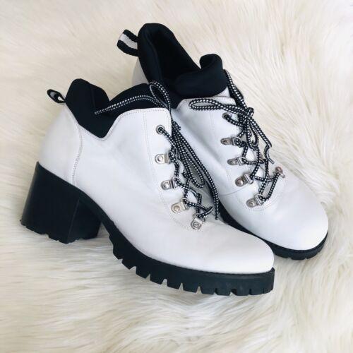 Dolls Kill White Platform Combat Boots Size 10