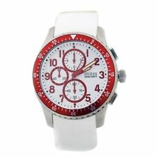 BRAND NEW GUESS U12651G3 WHITE SILICONE & RED STAINLESS STEEL MEN'S WATCH