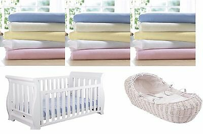 2 x Moses Basket Crib 100/% Cotton Soft Fitted Sheets