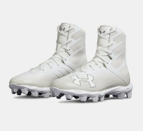UA under armour Boys Highlight Football Cleats Size 5 Youth White On White New
