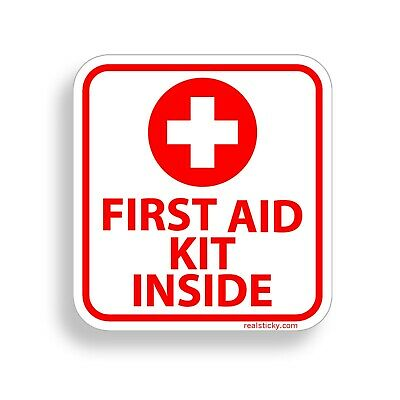 Emergency First Aid Kit Sticker Vinyl Decal OSHA Safety Red 1st Cross Sign Label