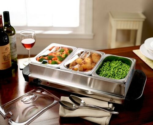 Scotts Of Stow Compact Silver 3-Compartment Buffet Food Warmer and Hotplate
