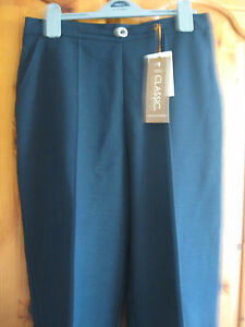 NEW-WOMENS-M-S-CLASSIC-MARKS-SPENCER-NAVY-BLUE-TROUSERS-SIZE-10-MEDIUM-I-L-29