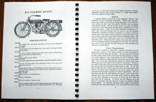 Black /& White 1912 Reading Standard Sales Brochure Spiral Bound Reproduction
