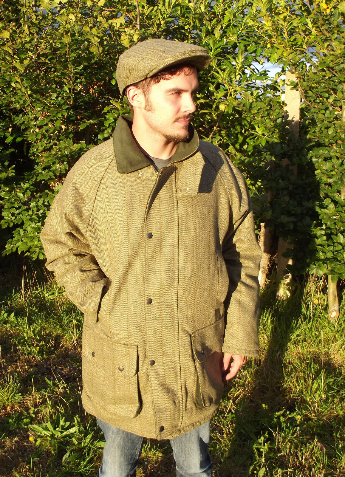 Veste Tweed Tweed Veste Hommes Fabriquée En Angleterre Moleskine Collier Vert Du S au 0d454b