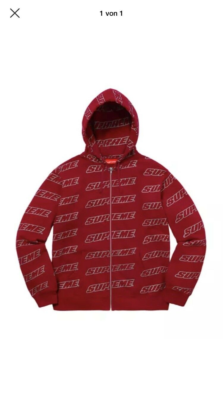 Supreme Repeat Zip Up Hooded Sweatshirt, Cardinal XL  | Online Outlet Store