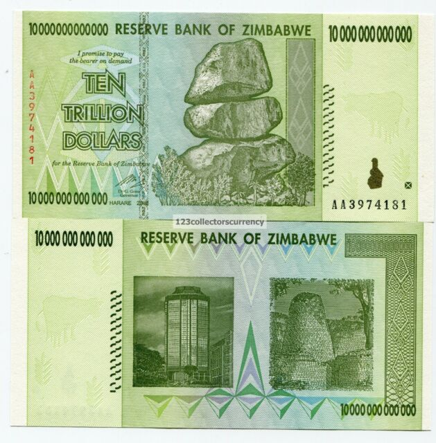 ZIMBABWE 10 TRILLION DOLLARS 2008 UNCIRCULATED AA - Part of 100 Trillion Series