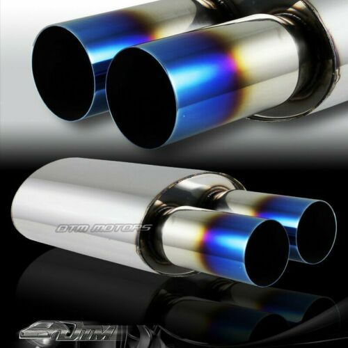 "3/"" Dual Titanium Burnt Tip T-304 Stainless 3/"" Inlet Muffler Exhaust Universal 6"
