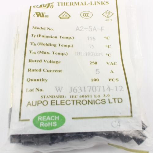 5Pcs Aupo Thermal Fuse Cutoff Tf 115℃ 250V 5A A2-5A-F
