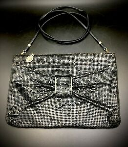 Vtg-Whiting-and-Davis-Black-Mesh-Crossbody-Purse-Clutch-w-Bow-amp-Removable-Strap