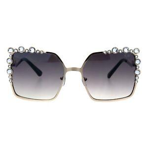 cd6774af409 Image is loading Womens-Rhinestone-Sunglasses-Oversized-Square-Gold -Metal-Frame-