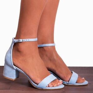 LIGHT BABY BLUE LOW HEELED ANKLE STRAP