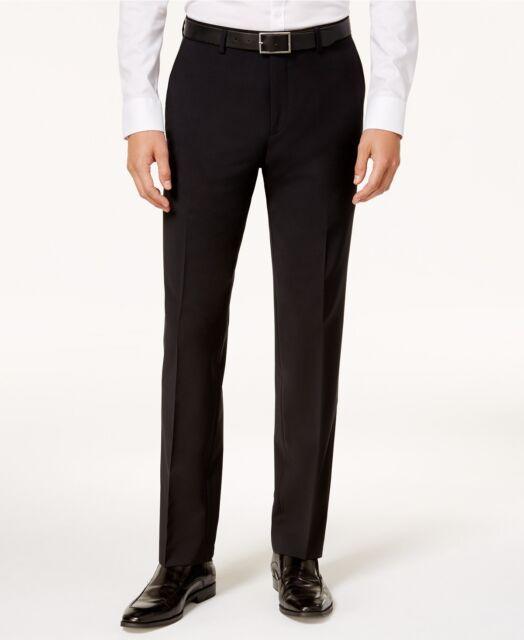 833703dece $196 BAR III men BLACK FLAT FRONT SLIM FIT WOOL DRESS PANTS TROUSERS 30 W 30