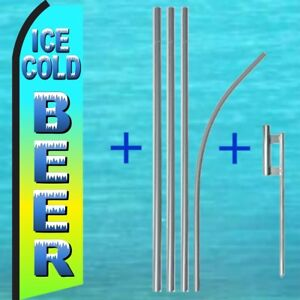 COLD BEER WINDLESS BANNER SWOOPER FLAG  INCLUDING A ALUMINIUM POLE BASE SET.