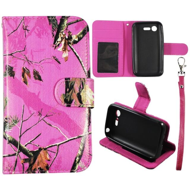 For LG Optimus Zone 2 Fuel VS415PP L34C Pink Mozy Camo Wallet Leather Case Cover