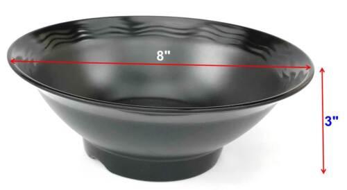 "Black 38 oz Melamine Ramen Vietnam Pho Beef Instant Noodles Soup Bowls Set 8/"""