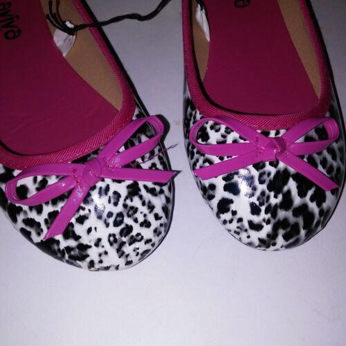 Details about  /Aviva Girls Slip On Shoes Ballet Flats Pink Leopard Animal Bow