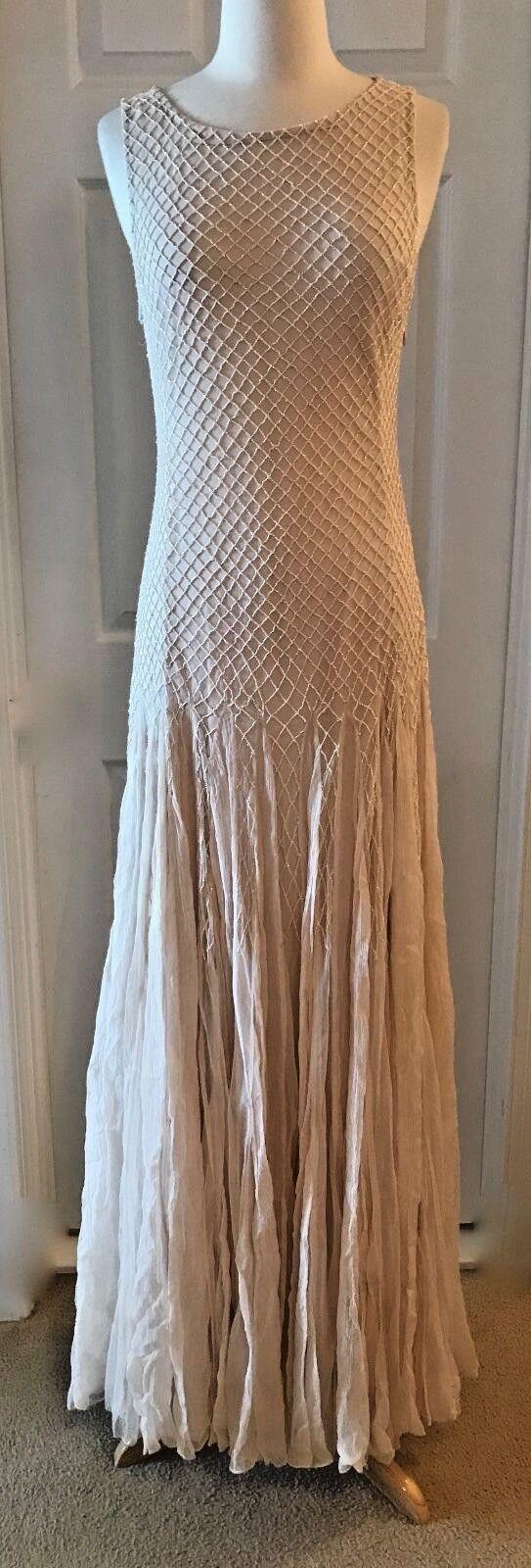 Alice + Olivia Saori Verziertes Kleid Abendkleid mit Godets Größe 6 Champagner