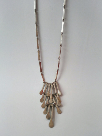 Necklace Chain Sterling Silver 925 Mexico Vintage Paddles Long Mexican M-71