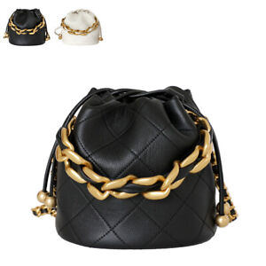 Mini Quilted Real Leather Chunky Chain Bucket Bag Shoulder Purse Tote Crossbody