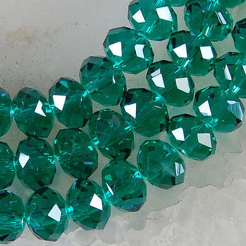 4 X 6 mm Faceted Dark Green Crystal Gemstone Abacus Loose Beads 94-100 PCS