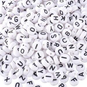 GS-1000Stk-Acryl-Weiss-Schwarz-Buchstaben-Perlen-Spacer-Beads-7mm