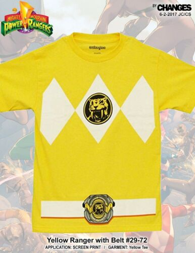 Mighty Morphin Power Rangers Yellow Ranger Superhero Halloween Costume T Shirt