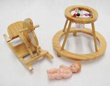 Dollhouse Miniature Nursery Furniture Wooden Lot Rocking Horse & Baby Walker