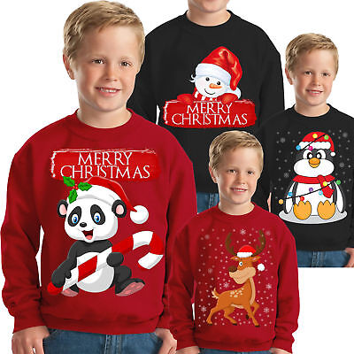 KIDS BOY GIRL CHRISTMAS RED SWEATER XMAS JUMPER SNOWMAN PULLOVER 3-4 YEARS
