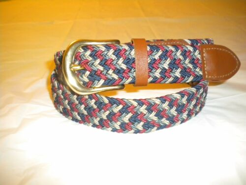 BRAND NEW  RED NAVY  BELT WOVEN BRAIDED ELASTIC STRETCH BELT GOLD BUCKLE