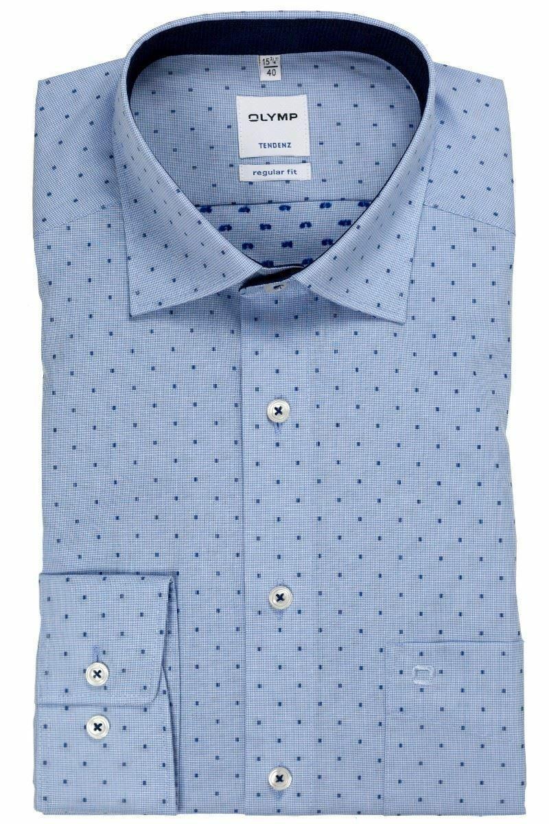 Blue Dobby Microcheck Spread Collar